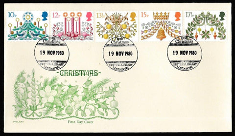 Great Britain First Day Cover, 'Christmas 1980', Philart, British Library, London, WC, 19-Nov-1980