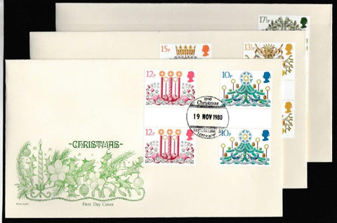 Great Britain First Day Cover, 'Christmas 1980 - Gutter Pair cover set', Philart, British Library, London, WC, 19-Nov-1980
