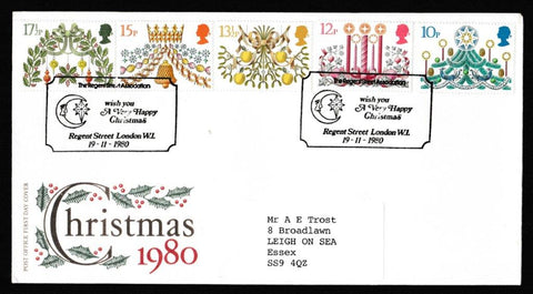 Great Britain First Day Cover, 'Christmas 1980', Royal Mail, Regent Street Association, Regent Street, London, 19-Nov-1980