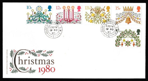 Great Britain First Day Cover, 'Christmas 1980', Royal Mail, House of Commons, London, SW1, 19-Nov-1980