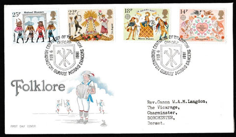 Great Britain First Day Cover, 'Folklore', Mercury, Headington Quarry Morris Dancers, Oxford, 06-Feb-1981