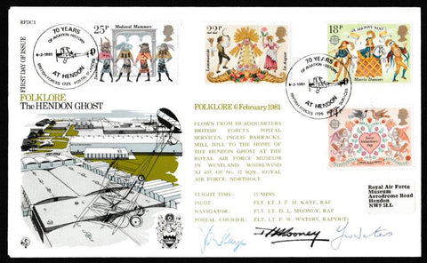 Great Britain First Day Cover, 'Folklore - Signed First Day Cover', Forces, 70 Years of Aviation History at Hendon, 06-Feb-1981