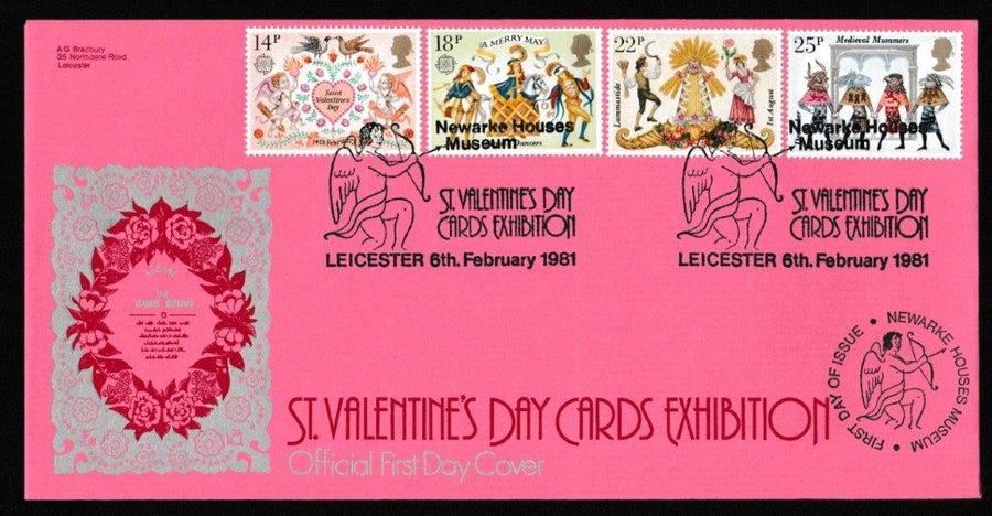 Great Britain First Day Cover, 'Folklore', Bradbury, St Valentines Day Card Exhibition, Leicester, 06-Feb-1981