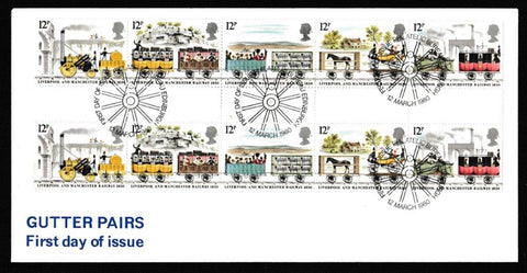 Great Britain First Day Cover, '150th Anniversary Liverpool and Manchester Rlwy - Gutter Pair Cover', Unknown, Philatelic Bureau, Edinburgh, 12-Mar-1980