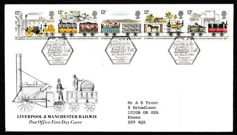 Great Britain First Day Cover, '150th Anniversary Liverpool and Manchester Railway', Royal Mail, To London 1980 by Rail, BFPS 1682, 12-Mar-1980