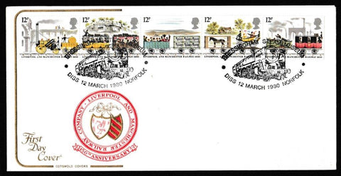 Great Britain First Day Cover, '150th Anniversary Liverpool and Manchester Railway', Cotswold, Bressingham Steam Museum, Diss, Norfolk, 12-Mar-1980