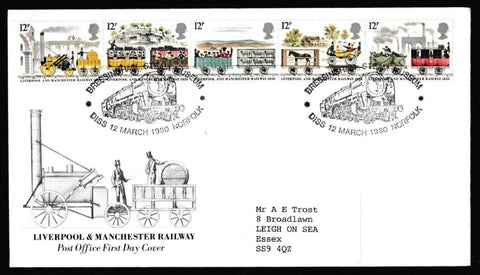 Great Britain First Day Cover, '150th Anniversary Liverpool and Manchester Railway', Royal Mail, Bressingham Steam Museum, Diss, Norfolk, 12-Mar-1980