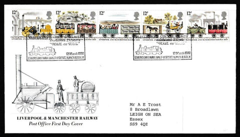 Great Britain First Day Cover, '150th Anniversary Liverpool and Manchester Railway', Royal Mail, Haverings Own Railway, Hornchurch, Essex, 12-Mar-1980