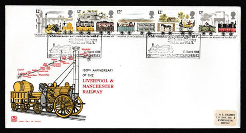 Great Britain First Day Cover, '150th Anniversary Liverpool and Manchester Railway', Stuart, Haverings Own Railway, Hornchurch, Essex, 12-Mar-1980
