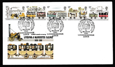 Great Britain First Day Cover, '150th Anniversary Liverpool and Manchester Railway', Philart, 150 Years Mail by Train, Loughborough, Leics, 12-Mar-1980