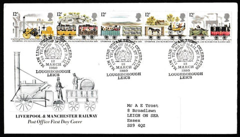 Great Britain First Day Cover, '150th Anniversary Liverpool and Manchester Railway', Royal Mail, 150 Years Mail by Train, Loughborough, Leics, 12-Mar-1980