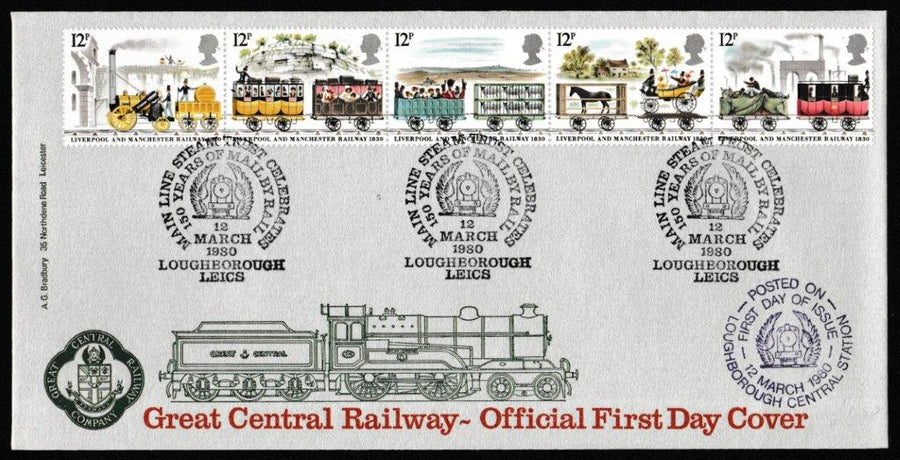 Great Britain First Day Cover, '150th Anniversary Liverpool and Manchester Railway', Bradbury, 150 Years Mail by Train, Loughborough, Leics, 12-Mar-1980