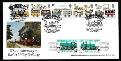 Great Britain First Day Cover, '150th Anniversary Liverpool and Manchester Railway', Benham, 80th Anniversary of Rother Railway, Tenterden, Kent, 12-Mar-1980