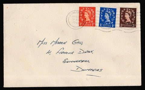 Great Britain First Day Cover, 'Definitives - Low Values', Plain, Dumfries, 31-Aug-1953