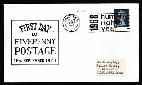 Great Britain Commemorative Cover, 'First Day of Fivepenny Postage', Unknown, London, WC, 16-Sep-1968