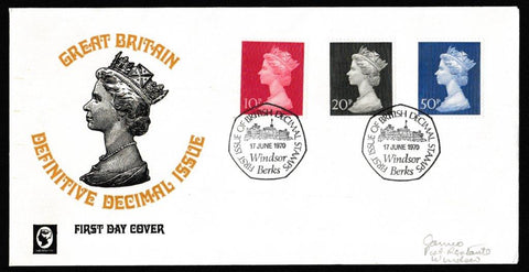 Great Britain First Day Cover, 'Definitives - First High Value Decimals', Cameo, British Decimal Stamps, Windsor, Berks, 17-Jun-1970