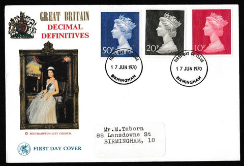 Great Britain First Day Cover, 'Definitives - First High Value Decimals', Wessex, Birmingham, 17-Jun-1970