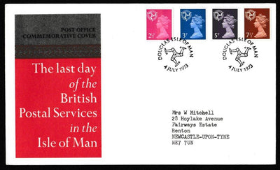 Great Britain Commemorative Cover, 'Last Day of the British Postal Sevices in the Isle of Man', Royal Mail, Douglas, Isle of Man, 04-Jul-1973