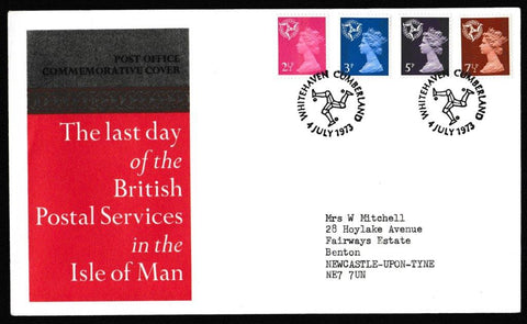 Great Britain Commemorative Cover, 'Last Day of the British Postal Sevices in the Isle of Man', Royal Mail, Whitehaven, Cumberland, 04-Jul-1973