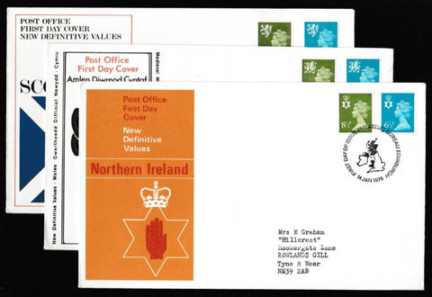 Great Britain First Day Cover, 'Definitives - Regionals - 6½p Green-Blue. 8½p Green-Yellow. New Values', Royal Mail, Philatelic Bureau, Edinburgh, 14-Jan-1976