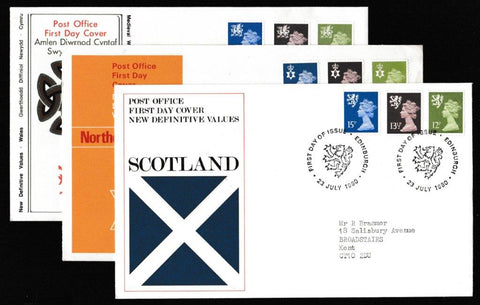 Great Britain First Day Cover, 'Definitives - Regionals. New Colours. New Values. 3 Cover Set', Royal Mail, 3 x Regional Handstamps, 23-Jul-1980