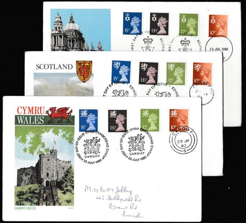 Great Britain First Day Cover, 'Definitives - Regionals. New Colours. New Values. 3 Cover Set', Philart, 3 x Regional Handstamps, 23-Jul-1980