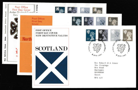 Great Britain First Day Cover, 'Definitives - New Values - 3 Cover Set', Royal Mail, 3 x Regional Handstamps, 08-Apr-1981