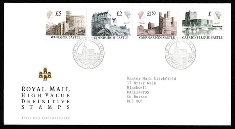Great Britain First Day Cover, 'Definitives - Castle High Values', Royal Mail, Windsor, Berks, 18-Oct-1988