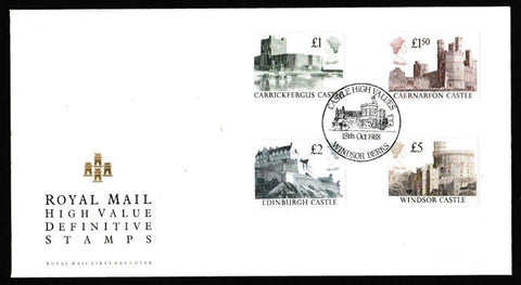 Great Britain First Day Cover, 'Definitives - Castle High Values', Royal Mail, Castle High Values, Windsor, Berks, 18-Oct-1988