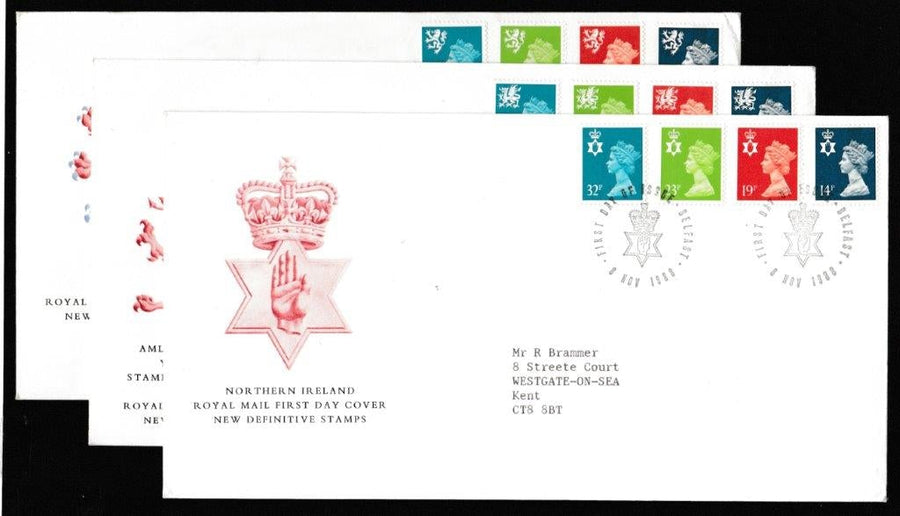 Great Britain First Day Cover, 'Definitives - New Colours. New Values', Royal Mail, 3 covers - Belfast, Cardiff & Edinburgh, 18-Oct-1988
