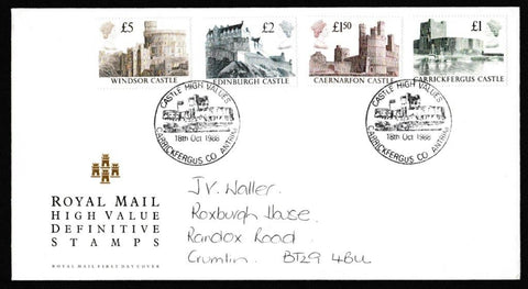 Great Britain First Day Cover, 'Definitives - Castle High Values', Royal Mail, Carrickfergus, County Antrim, 18-Oct-1988