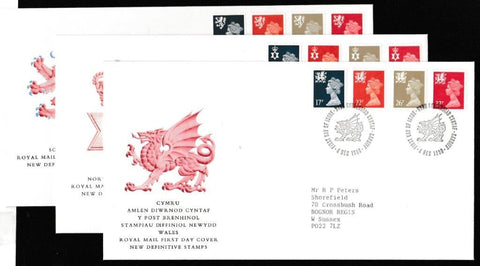 Great Britain First Day Cover, 'Definitives - New Colours. New Values. 3 Cover Set', Royal Mail, 3 x Regional Handstamps, 04-Dec-1990