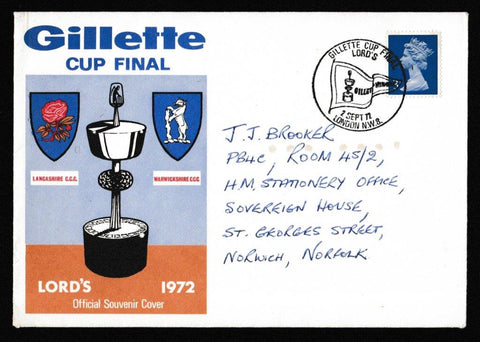 Great Britain Commemorative Cover, 'Gillette Cup Final - Lancs v Warks - Lords', Official, Gillette Cup Final, Lord's, London, NW8, 02-Sep-1972