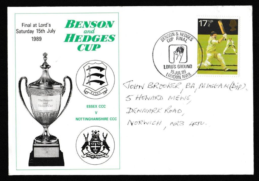 Great Britain Commemorative Cover, 'Benson & Hedges Cup - Essex v Notts - Lords', Official, Benson & Hedges Cup Final, Lords, 15-Jul-1989