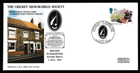 Great Britain Commemorative Cover, 'Birthplace of Thomas Lord - Founder of Lord's Cricket Ground', Official, Birthplace of Thomas Lord, 02-Aug-1994