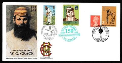 Great Britain Commemorative Cover, '150th Anniversary of W.G. Grace', Official, 150th Birthday Greetings W.G. Grace, Chelmsford, 18-Jul-1998