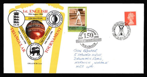 Great Britain Commemorative Cover, '1st English triangular Tournament - Sri Lanka/England/South Africa', Official, 1st English Triangular Tournament, Lord's, 16-Aug-1998