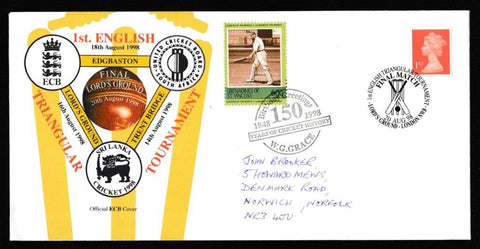 Great Britain Commemorative Cover, '1st English triangular Tournament - Sri Lanka/England/South Africa', Official, 1st English Triangular Tournament, Lord's, 20-Aug-1998