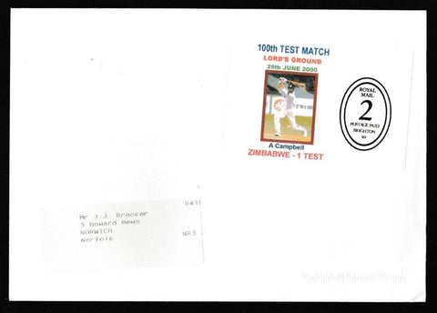 Great Britain Commemorative Cover, '100th Test Match Lords Cricket Ground - Zimbabwe', Plain, 100th Test Match, Lord's Cricket Ground, 29-Jun-2000