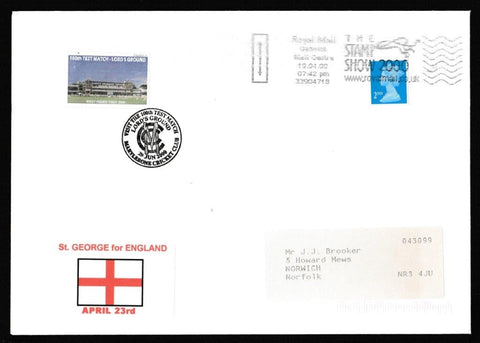 Great Britain Commemorative Cover, '100th Test Match Lords Cricket Ground - West Indies', Plain, Stamp Show 2000, 19-Apr-2000