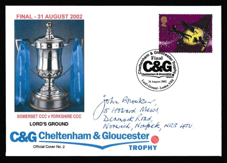Great Britain Commemorative Cover, 'C&G Trophy Final 2002 - Somerset v Yorkshire', Official, C&G Trophy Final, Lord's, 31-Aug-2002