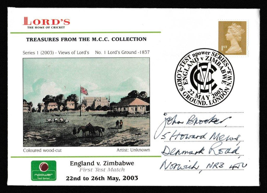 Great Britain Commemorative Cover, 'England v Zimbabwe Npower Test Series 2003', Official, England v Zimbabwe, Lord's, 22-May-2003