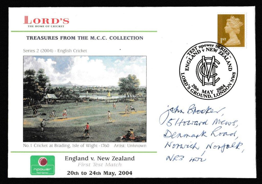 Great Britain Commemorative Cover, 'England v New Zealand Npower Test Series 2004', Official, England v New Zealand, Lord's, 20-May-2004