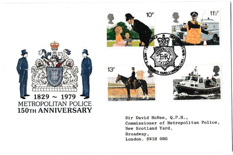 Great Britain First Day Cover, '150th Anniversary Metropolitan Police', Official, New Scotland Yard, London SW1, 26-Sep-1979