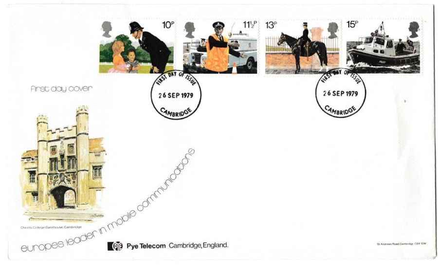 Great Britain First Day Cover, '150th Anniversary Metropolitan Police', Official, Cambridge, 26-Sep-1979