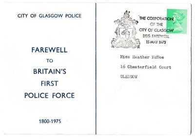 Great Britain Commemorative Cover, 'City of Glasgow Policer - Farewell', Official, City of Glasgow, 15-May-1975
