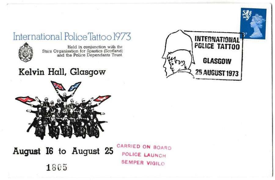 Great Britain Commemorative Cover, 'International Police Tattoo - Glasgow', Official, International Police Tattoo, Glasgow, 25-Aug-1973