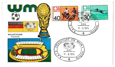 Great Britain Commemorative Cover, 'World Cup 1974 - West Germany', Official, FIFA, Frankfurt, 11-Jun-1974