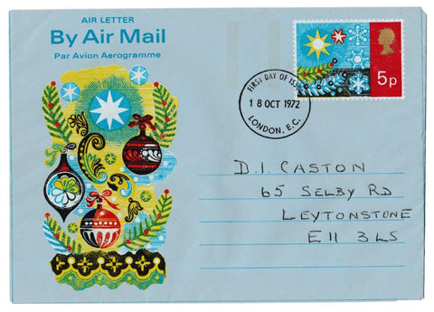 Great Britain First Day Cover, 'Airmail Letter - Christmas 1972', Postal Stationery, London, EC, 18-Oct-1972
