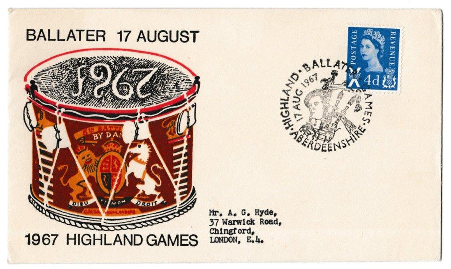 Great Britain Commemorative Cover, 'Ballater Highland Games 1967', Official, Ballater, 17-Aug-1967